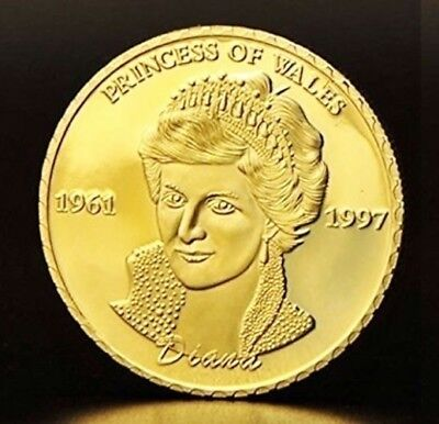 1 Pièce plaquée OR ( GOLD Plated Coin ) - Lady Diana