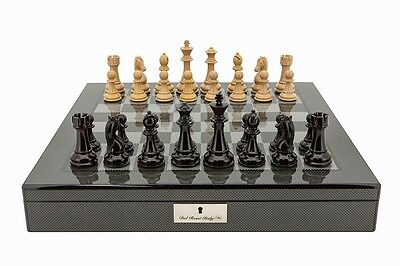 Dal Rossi Dark Red and Box Wood Chess Pieces on Carbon Fibre Style Board Box