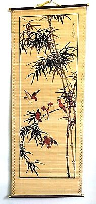 Chinese Traditional painting Free Hand Style Signed Flying Birds Bamboo Leaves