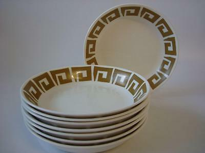 """Wedgwood Susie Cooper Keystone Old Gold 8 X Cereal / Soup / Dessert Bowls 7.75"""""""