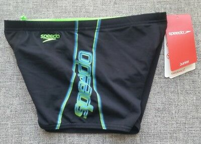 SPEEDO Boys Speedway Aquashort Black Size 10 Endurance+ BRAND NEW with tags