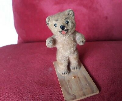 Vintage Miniature Bear Attached To Wood
