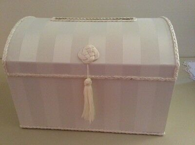 wedding satin treasure chest-ivory with pink ribbon