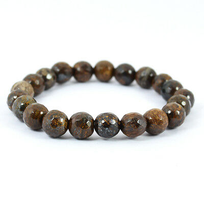 Bronzite Crystal Stone Faceted Round Bead 8mm Bracelet Reiki Healing Gemstone