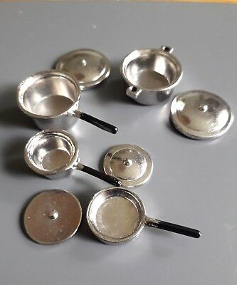 Dolls House Miniatures:  Set of Metal  Pot & Pans in 12th scale