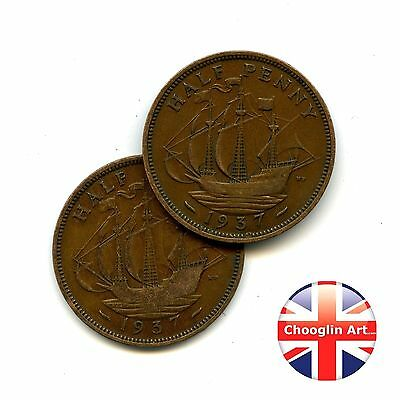 A pair of 1937 British Bronze GEORGE VI HALFPENNY Coins