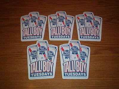 Five (5) PABST BLUE RIBBON Tall Boy Tuesdays One Pint  Beer Coasters  Brand New