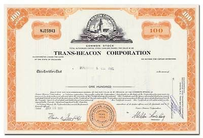 Trans-Beacon Corporation Stock Certificate (RKO Films, Lighthouse Vignette)