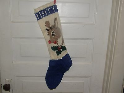 Vintage Hand Knit Christmas Stocking Reindeer MATT  - Gorgeous 25 in