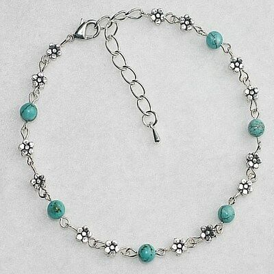 Turquoise Gemstone Daisy Chain Boho Gypsy Flowers Anklet / Ankle Bracelet Gift