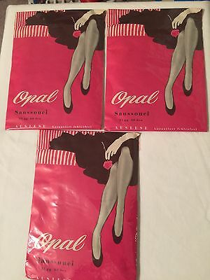 New Vintage OPAL Cuban Heels   Seamed Nylon Stockings Size 10 Large 3 Pairs Grey