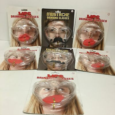 A Set of 2 Packs of Mustache Drinking Glasses & 5 packs of Lips Drinking Glasses