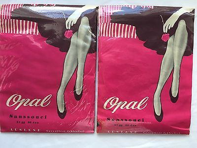 New Vintage OPAL Sanssouci Seamed Cuban Heels Nylon Stockings Size 10 1/2 XL