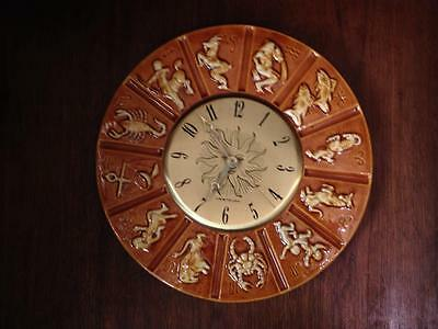 "Vintage 1969  Maddux pottery  Zodiac 12"" clock  Made in California USA"