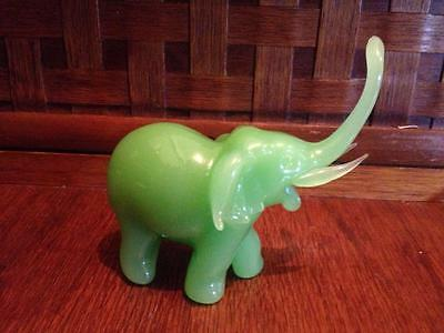 "Jade glass elephant "" lucky trunk up """