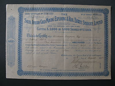 1895 South African Gold Mining Exploring Real Estate Syndicate Share Africa