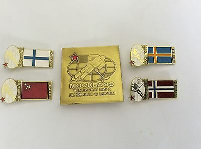 SOVIET RUSSIAN USSR Pin Badges  WORLD CUP HOCKEY 1989 MOSCOW  BANDY