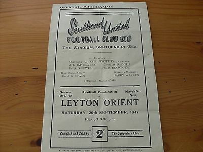 Southend Res v Leyton Orient Res  programme dated 20-9-1947      (F517)