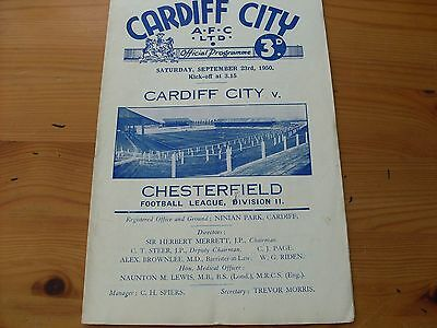 Cardiff v Chesterfieid programme dated 13-11-1948   (F536)