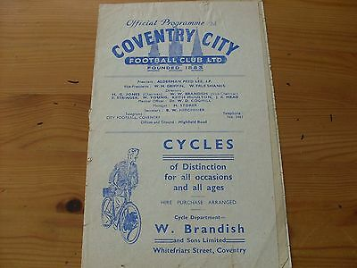 Coventry v Grimsby programme dated 19-3-1949  (F526)