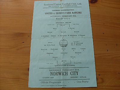 Southend Res v QPR Res  programme dated 16-2-1946      (F516)
