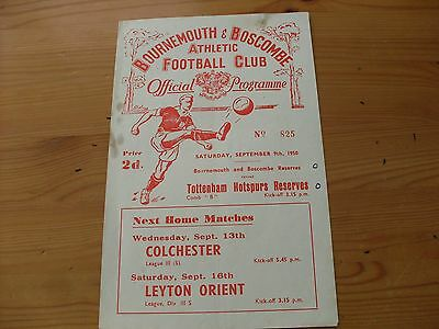 Bournemouth Res V Tottenham Res  programme dated 9-9-1950    (F477)