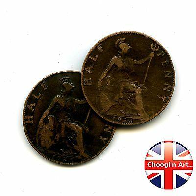 A pair of 1923 British Bronze GEORGE V HALFPENNY Coins