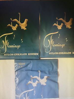 New Vintage Rare Flamingo Seamed Cuban Heels Nylon Stockings Size 10 3 Prs.