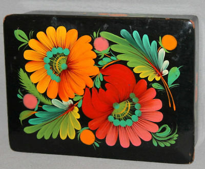 Vintage Russian Trinket Floral Laquer Hand Painted Box Signed