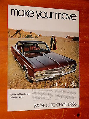 1968 Chrysler New Yorker Coupe In Wine Red Color Ad - Retro Vintage American