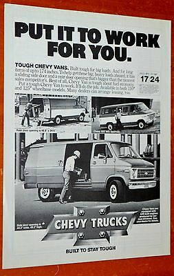 1980 Chevy Commercial Delivery Van Ad - American 80S Truck G20 Vintage Chevrolet