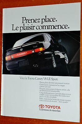 French 1992 Toyota Camry V6 Le Sport Canadian Ad - Retro 90S Japanese