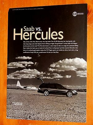 1999 Saab 9-5 Wagon With Cl-130 Hercules Plane Beautiful Ad - Retro 90S Euro