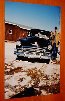 PHOTO BLACK 1950 CHEVY DELUXE WITH ELTON McFALL IN BURJE NY IN 2002 - VINTAGE