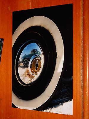 Photo 1950 Chevrolet Wheel Close Up & 1951 Chevy Reflection In Hubcap - Vintage
