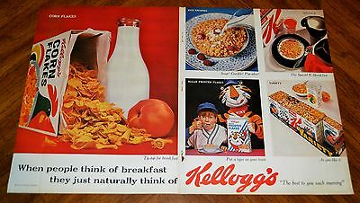 Large 1963 Kellogs Corn Flakes Cereal Ad + More Vintage Ads On The Back - Retro