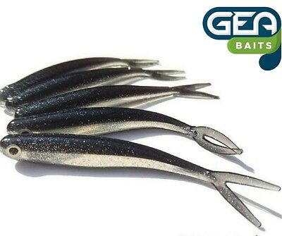 6 X Black Silver Soft Lures 8cm Jig Heads Drop Shot Soft Fishing Bait Pike Trout