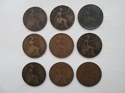 9 Edward VII Pennies Dated 1902, 1903, 1904, 1905, 1906, 1907, 1908, 1909 & 1910