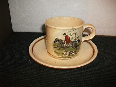 royal worcester palissy hunting scenes cup and saucer duo(b)