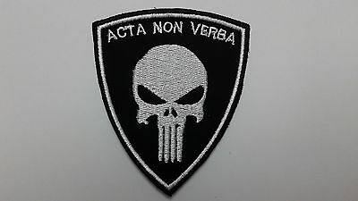 """1 Pc. New SEAL TEAM PUNISHER """"ACTA NON VERBA"""" emb.patch hook back."""