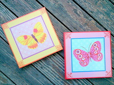 Eeboo Butterfly Prints In Pink And Yellow By Lizzy Rockwell