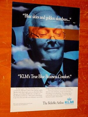 1996 Klm Business Class Airline Canadian Ad - Retro 90S Jet Plane Travel