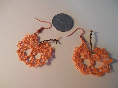 Tatted Pumpkin Earrings Dove Country Tatting Orange Halloween