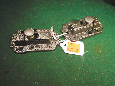 TWO  MATCHING VINTAGE EASTLAKE CABINET LATCHES w/ KEEPERS   (9612)