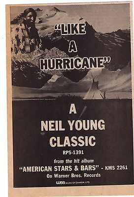 """1977 Neil Young """"Like A Hurricane"""" Song/Album Trade Print Advertisement"""