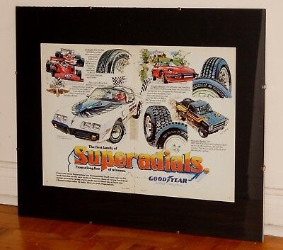 Large Framed 1980 Goodyear Tires Ad With Pontiac Trans Am Dodge Pickup Truck