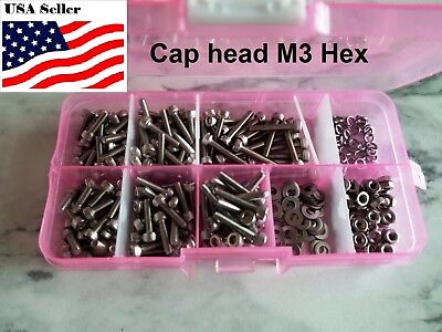 300pcs M3 Stainless Steel Hex Socket Screws Bolt With Hex Nuts Washer Assortment