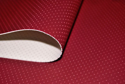 Red Semi Perforated Car Faux Leather Upholstery Material Leatherette Fabric