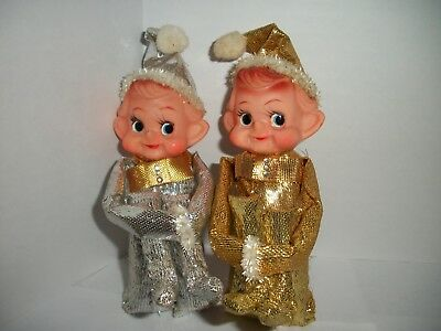 Vintage Pair Pixie Elf Knee Huggers-rare gold & silver lame Rhinestone Bow Ties