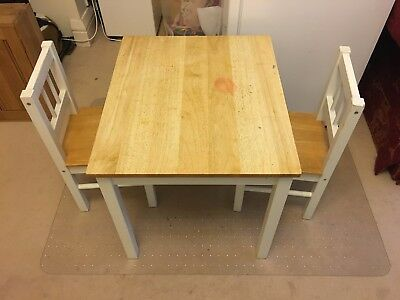 Ikea Gulliver Solid Birch & Painted Children's Kid's Table and 2 Chairs